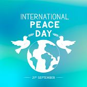 International Peace Day Lettering With Flying Doves Holding Olive Branches. Flat Vector Illustration poster