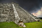 Storm at Kukulkan pyramid in Chichen Itza, Mexico