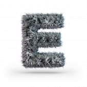 Uppercase Fluffy And Furry Gray Font. Letter E. 3d Rendering poster