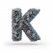 Uppercase Fluffy And Furry Gray Font. Letter K. 3d Rendering poster