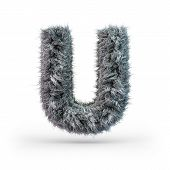Uppercase Fluffy And Furry Gray Font. Letter U. 3d Rendering poster