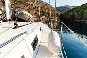 Boat In A Quiet Bay Of Smrka On Brac Island, Croatia. Morning In Croatian Bay. Holiday On A Yacht. Y poster
