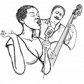 pic of double-bass  - Illustration of an afro american jazz singer with double - JPG