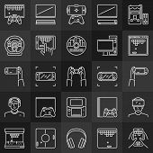 Video Games Linear Concept Icons Collection. Gamepads, Consoles, Game Vector Linear Signs On Dark Ba poster