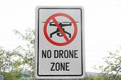 In Airport Prohibition Sign To Fly With Drones On The Fence. No Drone Zone. No Drones All Remote-con poster