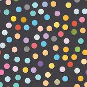Multi Colored Polka Dot Seamless Pattern On Black Background. poster