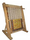image of handloom  - Old wooden loom isolated over white background - JPG