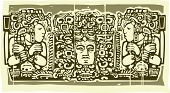 stock photo of triptych  - Mayan triptych image in woodcut style with priests - JPG