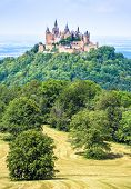 Hohenzollern Castle On Mountain Top, Germany. This Fairytale Castle Is Famous Landmark In Stuttgart  poster