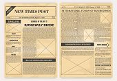 Vintage Newspaper. Old Realistic Pages With Headers And Place For Pictures, Retro Article Layout. Ve poster