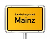 City limit sign MAINZ against white background - capital of the federal state Rhineland Palatinate - Rheinland Pfalz, Germany