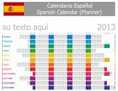 2013 Type-1 Spanish year planner months are horizontal