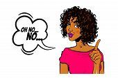 Black Young Curly Hair Woman Pop Art Style Wow Face Show Finger No. Isolated White Background. Comic poster