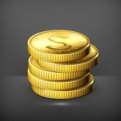 Stack of coins, vector