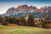 Picturesque Alpine Resort With Majestic Sunset And High Snowy Mountains In Background, Cortina D Amp poster