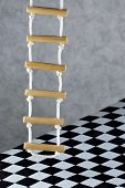 Rope Ladder And Floor Background Black And White Square Cage.rope Ladder-wooden Steps, Convenience,s poster