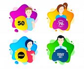 Today Only Sale Symbol. People Shape Offer Badge. Special Offer Sign. Best Price. Dynamic Shape Offe poster