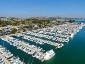 Aerial View Of Dana Point Harbor And Her Marina With Yacht And Sailboat. Southern Orange County, Cal poster