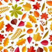 Autumn Leaves Pattern. Abstract Repeating Fall Leaf, Colorful Foliage Texture For Wallpaper And Gift poster