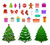 Christmas Flat Elements. Santa Hat, Gift Boxes And Xmas Socks. Christmas Trees With Toys And Gingerb poster