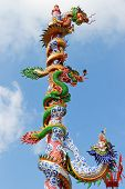 Chinese Dragon Statue And Blue Sky