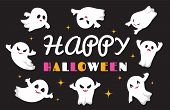 Cute Ghosts. Flat Ghost Vector Character. Happy Halloween Background. Illustration Halloween Spooky  poster