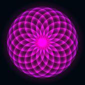 Mathematical Symbol. Mandala Design. Flower Of Life. Sacred Geometry. Pattern Of Rotating Circles. B poster