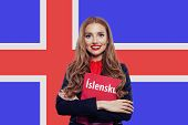 Learn Icelandic Language Concept. Portrait Of Happy Pretty Woman Student Against The Iceland Flag Ba poster