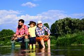 Fly Fishing. Father, Son And Grandfather Relaxing Together. Coming Together. Family Generation And P poster