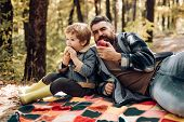 Healthy Lifestyle. Nature Picnic. Healthy Snack. Vitamin Charge. Family Picnic. Hipster Bearded Dad  poster