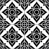 Azujelo Lisbon Tile Vector Pattern - Lisbon Tiles Seamless Design With Flowers , Tile Decor In Black poster