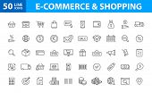 Set Of 50 E-commerce And Shopping Web Icons In Line Style. Mobile Shop, Digital Marketing, Bank Card poster