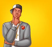 Pop Art Rap, Hip-hop Male Character Isolated On Yellow Background. Afro-american Singer In Grey Jack poster