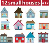 12 small houses # 17 - vector set (easy to edit)