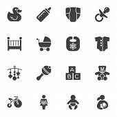 Baby Vector Icons Set, Modern Solid Symbol Collection, Filled Style Pictogram Pack. Signs, Logo Illu poster