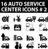 16 auto service center icons. vector