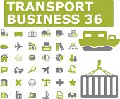 36 transport business icons. green series. vector. please, visit my portfolio to find more similar.