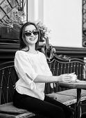 Stylish Woman In Glasses Drink Coffee. Girl Relax In Cafe. Business Lunch. Summer Fashion Beauty. Me poster