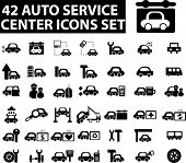 42 auto service center icons set. vector.