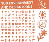 100 environment and design icons. brown series. vector