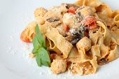 Pasta Pappardelle With Meatballs Closeup