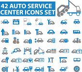 42 auto service icons. vector. blue series
