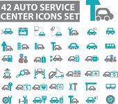 42 auto service center icons. vector