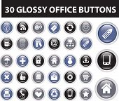 30 glossy office buttons. vector