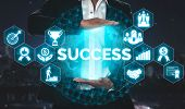 Achievement And Business Goal Success Concept. poster