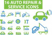 16 auto service icons. vector