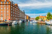 Christianshavn Channel With Colorful Buildings And Boats In Copenhagen, Denmark. poster