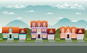 Neighborhood Street With Houses Scene Vector Illustration Design poster