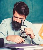 Set Up Microscope. Teacher Sit Desk With Microscope. Man Bearded Hipster Classroom Chalkboard Backgr poster