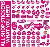 all pink shop stickers you need. vector